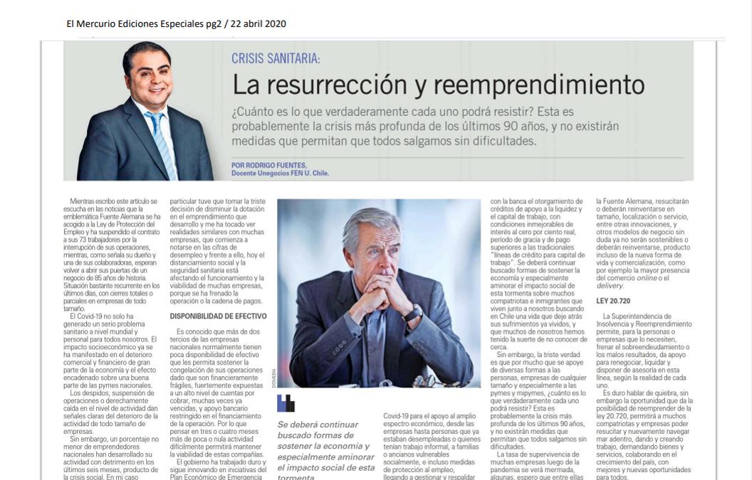 Columna El Mercurio: Rodrigo Fuentes Respecto al Emprendimiento y La Crisis